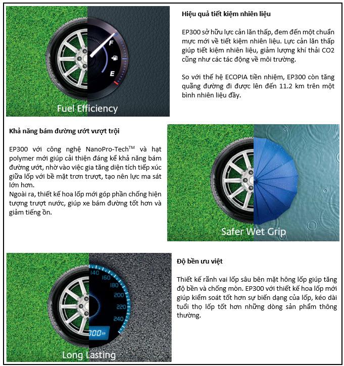 EP300 có khả năng bám đường cao, thân thiện với môi trường, tiết kiệm nhiên liệu và kéo dài tuổi thọ lốp vượt trội.
