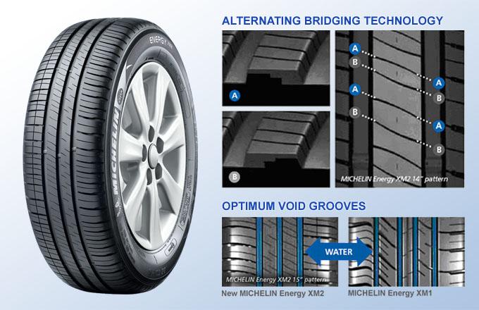 Michelin Energy XM2 áp dụng công nghệ bắc cầu qua lại – giảm tỷ lệ mòn vỏ nhanh.